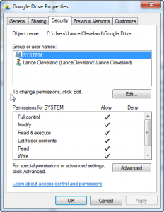google drive with system properties