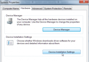Windows 7 Device Installation Settings