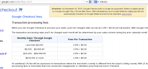 Google Checkout Fees