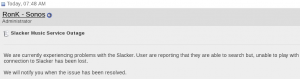Slacker Offline at Sonos