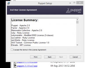 Puppet Install Licenses