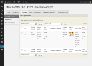 EVE 4.2.04 Manage Events Screen
