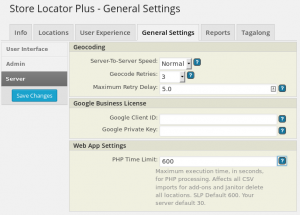 SLP 4.2.31 General Settings Server