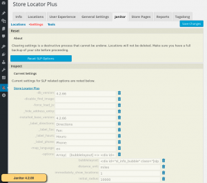 Janitor 4.2 settings interface.  Now requires Store Locator Plus 4.2.