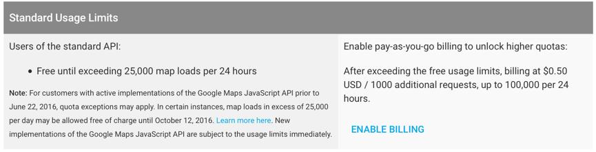 Google Maps API Limits